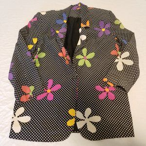 Vintage Silk 70's Floral Blazer Jacket Size Small